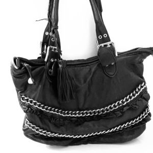 Betsey Johnson black leather chain bag